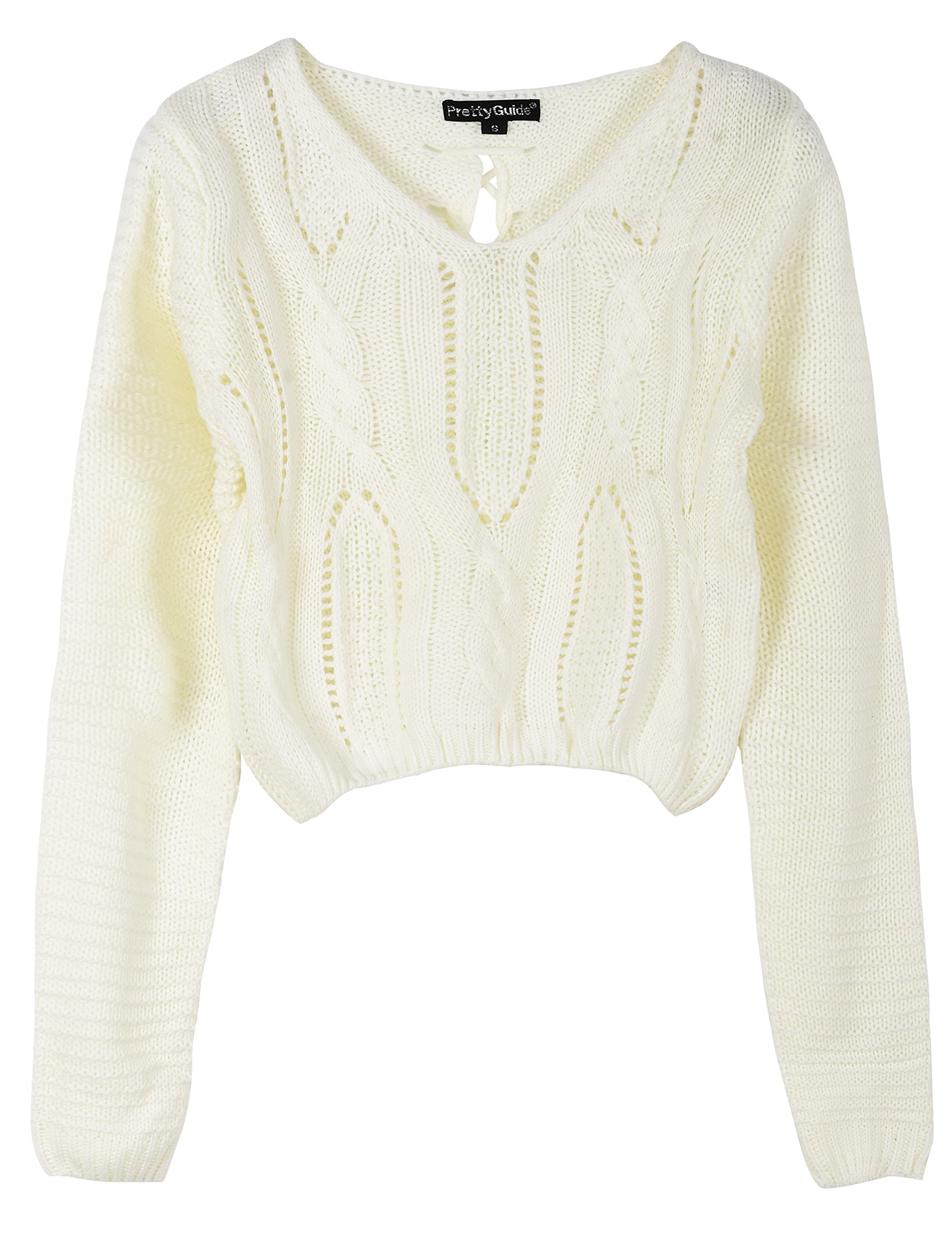 PrettyGuide Women's Long Sleeve Eyelet Cable Lace Up Crop Top White M