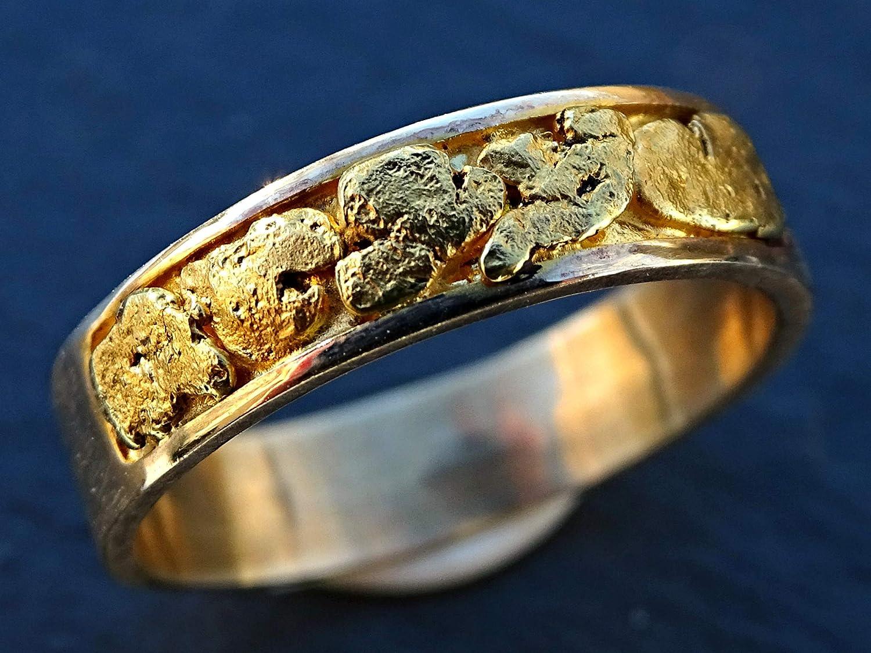 Amazon Com Gold Nugget Wedding Band Mens Wedding Ring Gold