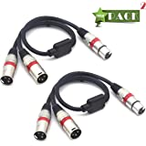 SiYear Balanced XLR Splitter Cable - XLR Female to Dual XLR Male 3 Pin Patch Y Cable Microphone Splitter Cord Audio Adapter (