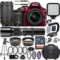 Nikon D3400 24.2 MP DSLR Camera (Red) Video Kit with AF-P 18-55mm VR Lens, AF-P 70-300mm ED VR Lens & 500mm Lens + LED Light + 32GB Memory + Filters + Macros + Deluxe Bag + Professional Accessories
