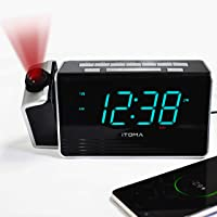 iTOMA Projection Alarm Clock,Digital FM Radio,Dual Alarm with Battery Backup,USB Charging and Snooze,1.4-inch Dimmable…