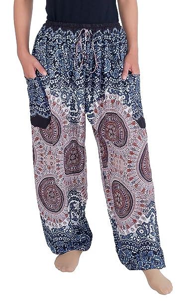 9a8cd4d10d4 Lannaclothesdesign Women s Boho Drawstring Smocked Waist Rayon Harem Yoga  Pants (S