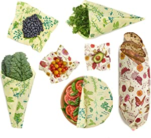 Plastic Free Bee's Wrap Vegan Variety Pack, Eco Friendly Reusable Food Wraps, Sustainable Alternative for Food Storage - 2 Small, 2 Medium, 2 Large, 1 Bread (Meadow Magic and Herb Garden)