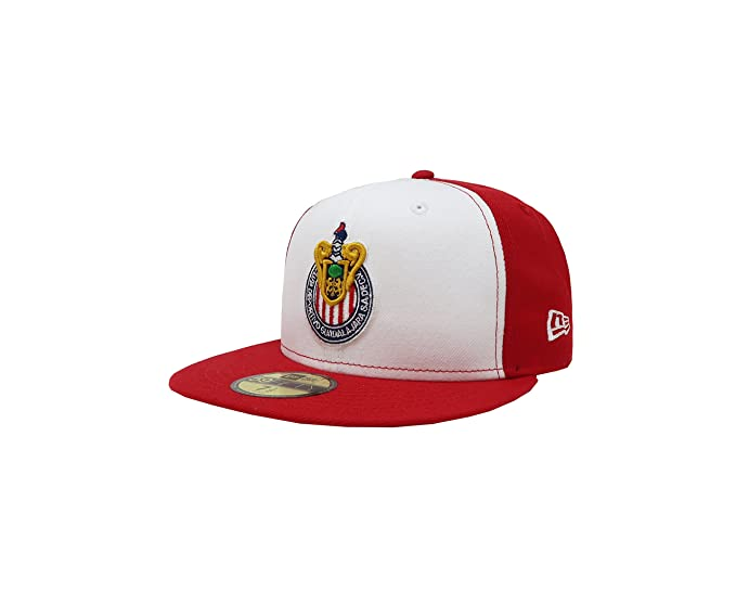 New Era 59Fifty Hat Chivas De Guadalajara Liga MX Soccer White Red Fitted  Cap ( 380f6e709188