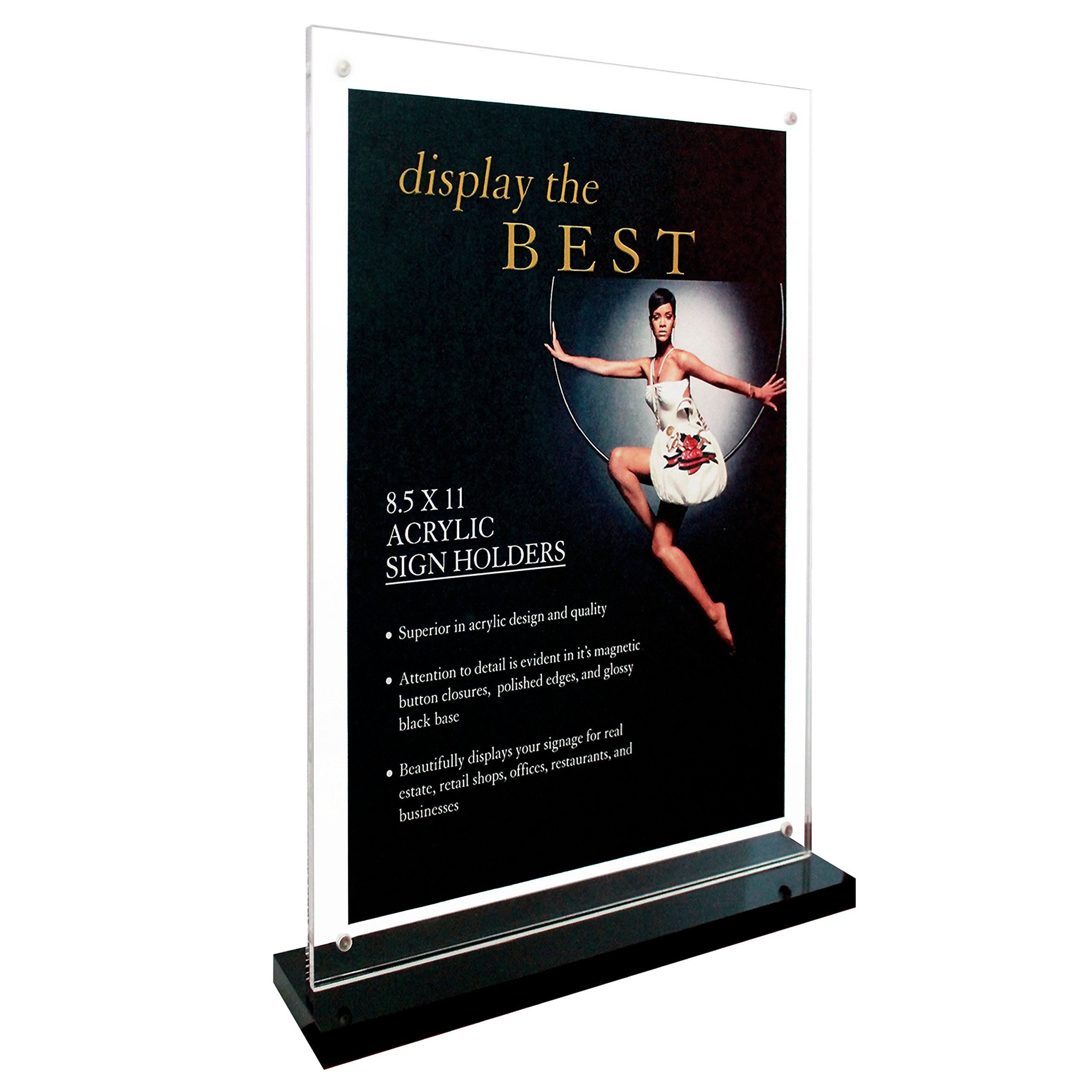 Deluxe Acrylic Sign Holder with Black Base and Magnet Button Closures (Black, 8.5''x11'')