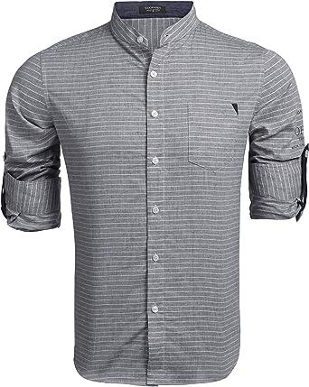 COOFANDY - Camisa para hombre de corte ajustado, cuello alto, camisa para ocio, negocios gris oscuro XXL: Amazon.es: Ropa y accesorios