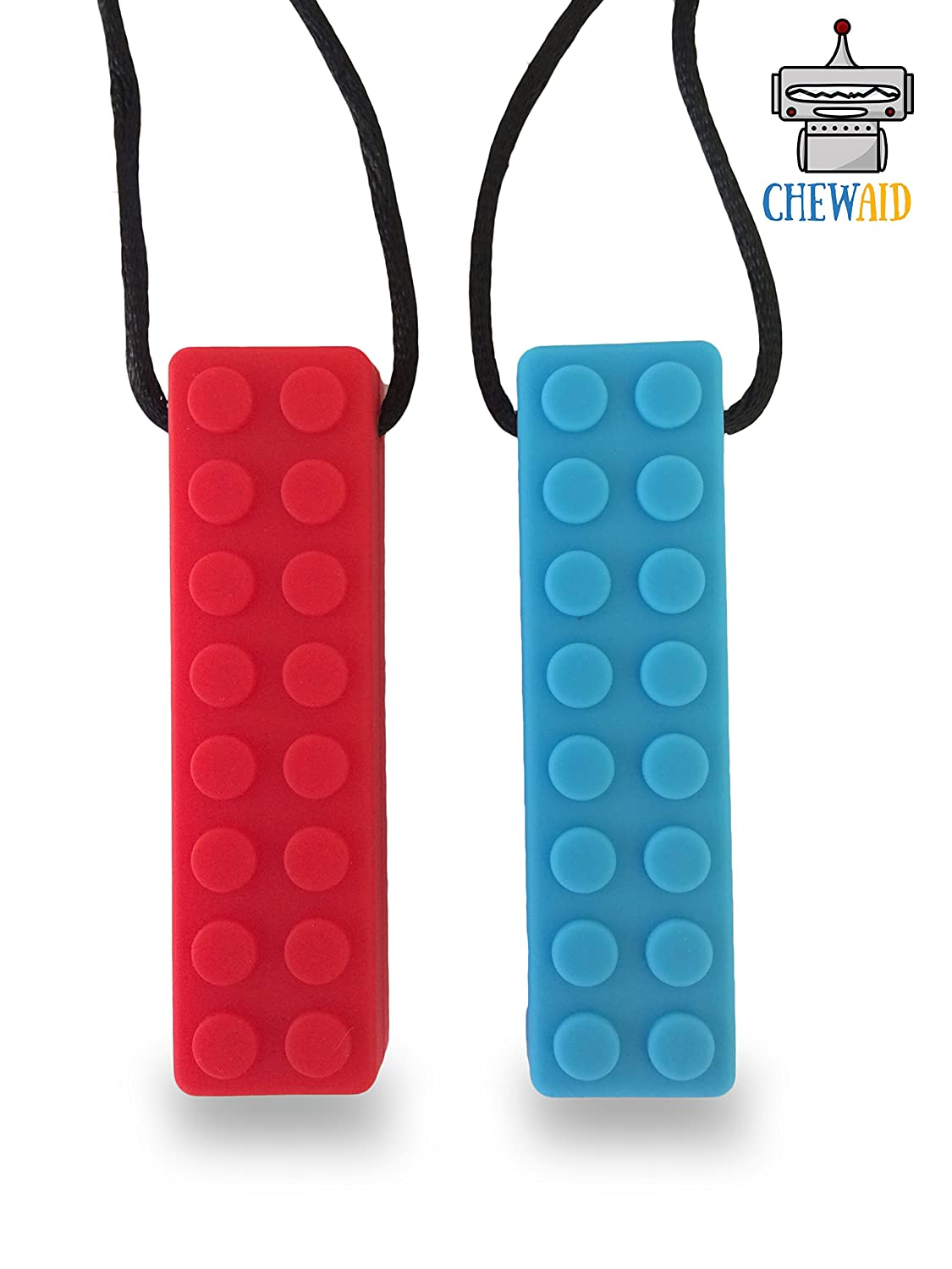 Chew Pendant Training and Development Fidget Toy Chew Necklace for Teething Babies,Sensory,Oral Motor, Anxiety, Autism (Red and Blue) Pack of 2 ADHD (RED BLUE) JCM