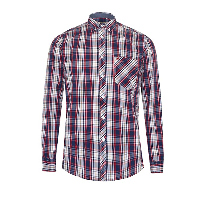 Merc Frank Check Shirt Red/Blue-S: Amazon.es: Ropa y accesorios