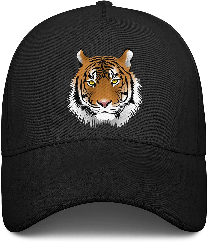 Wild King Big Tiger Face Unisex Baseball Cap Soft Fit Snapback Caps Adjustable Trucker Caps Dad-Hat