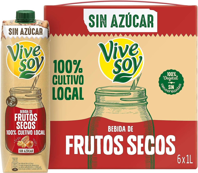 Vivesoy Frutos Secos sin Azúcar (pack de 6 x 1L): Amazon.es: Alimentación y bebidas
