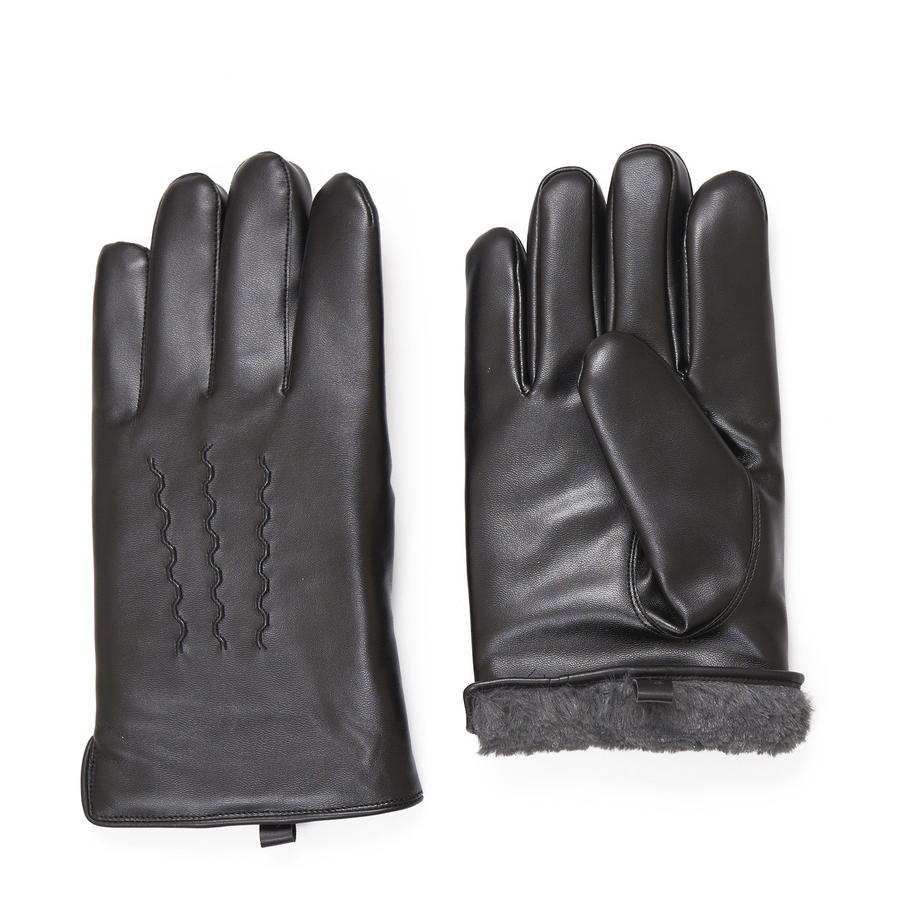 SANREMO Mens Luxury PU Leather Cold Weather Warm Winter Gloves (Fake Fur Lining)-X-Large