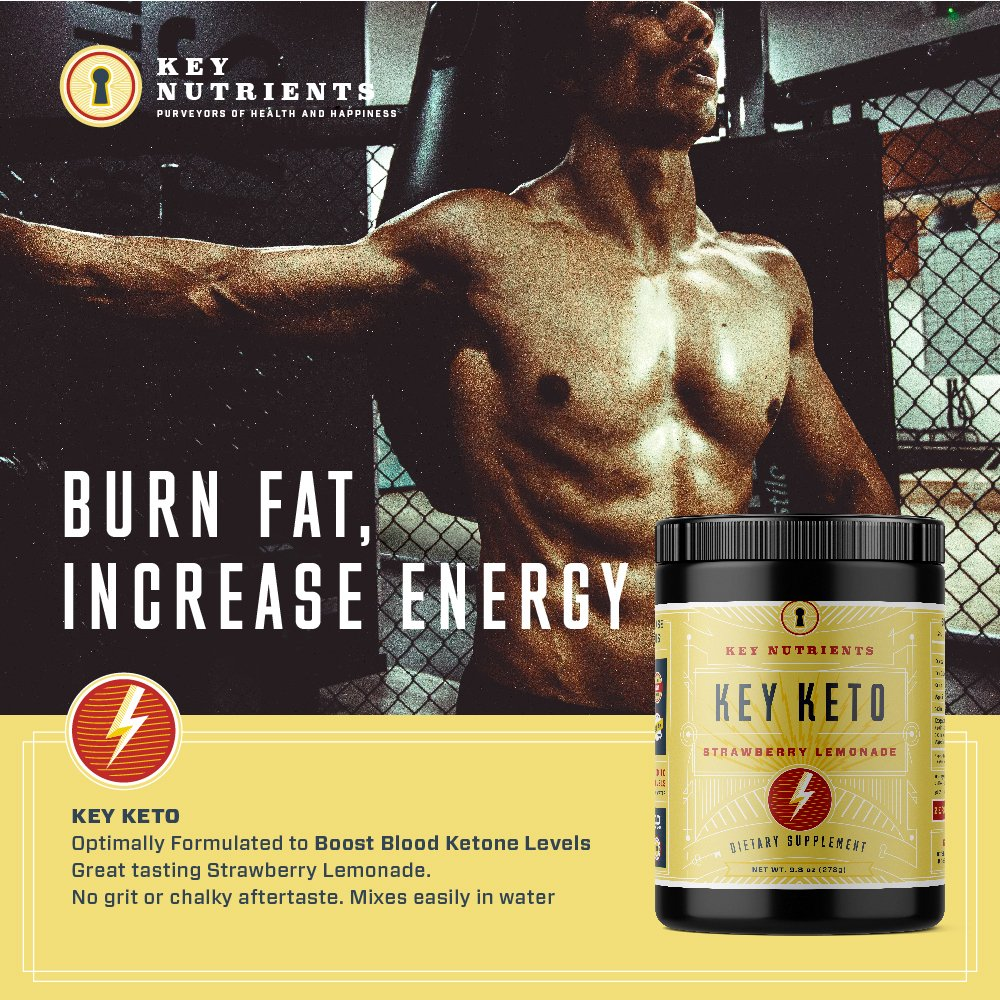 Exogenous Ketone Supplement, KEY KETO: Patented BHB Salts (Beta-Hydroxybutyrate) - Formulated for Ketosis, to Burn Fat, Increase Energy and Focus, Supports a Keto Diet. Strawberry Lemonade (278g) (20) by Key Nutrients (Image #4)
