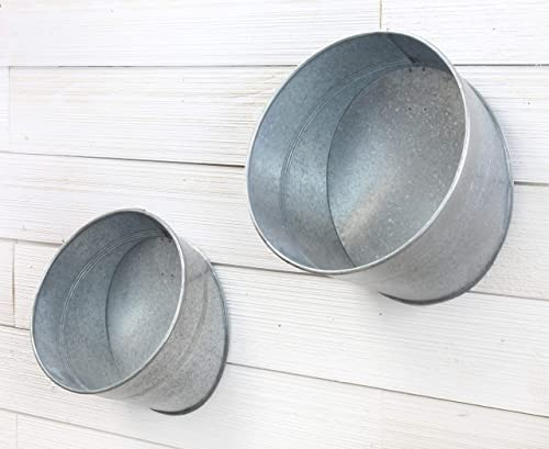 AuldHome Galvanized Hanging Half Buckets Set of 2 Farmhouse Decor Planters, Wall Vases, or Containers
