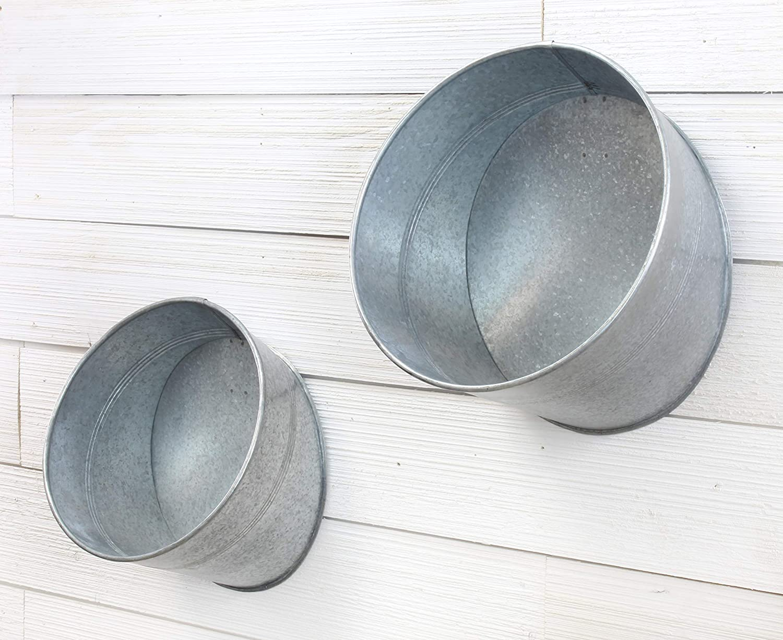 New Primitive Farmhouse Set 2 Galvanized Round Bucket Shelf Wall Hanging Bins
