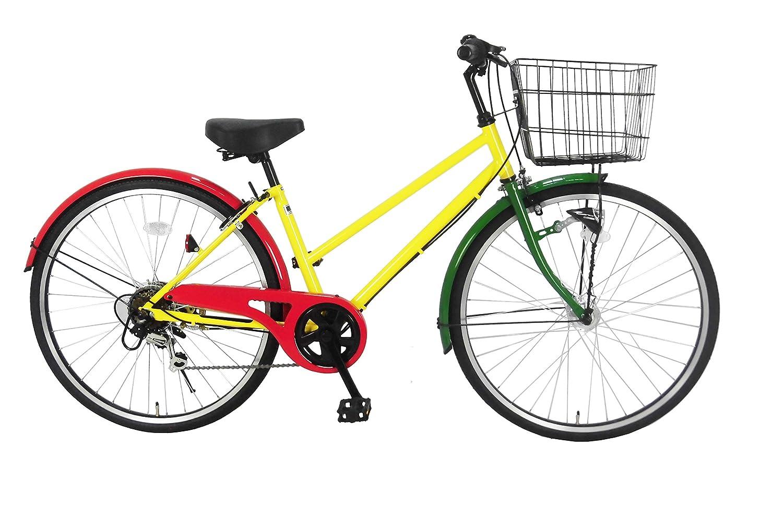 Lupinusルピナス 自転車 26インチ LP-266TA シティサイクル シマノ製外装6段ギア オートライト ブラックリム 100%完成車 B0797PR45K ラスタカラー ラスタカラー
