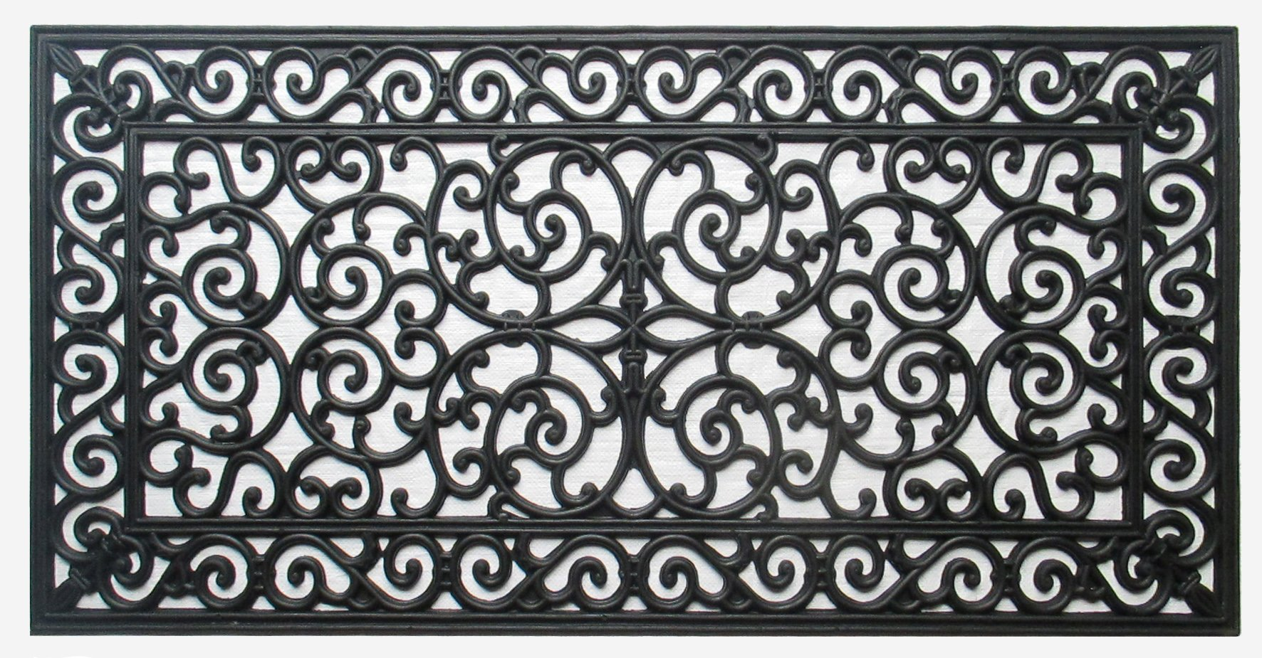 A1 Home Collections First IMPRESSION Audie Modern Indoor/Outdoor 23.62'' L x 47.25'' W Easy Clean Rubber Entry Way Doormat for Patio, Front Door, All Weather Exterior Doors/Large Size For Double Doors by A1 Home Collections