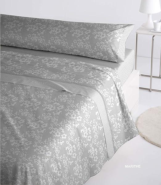 Juego sábanas Mod. Marithe, Franela algodón, Suave, Colores sólidos, Máximo Confort (Gris, 180 x 190/200+30 cm): Amazon.es: Hogar