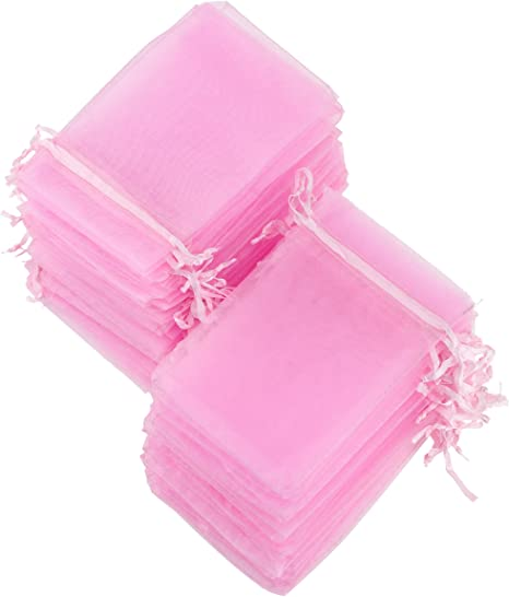 50 x Heart designed Organza Bags 10cm x 15 cm ideal for Wedding Favours or Gifts