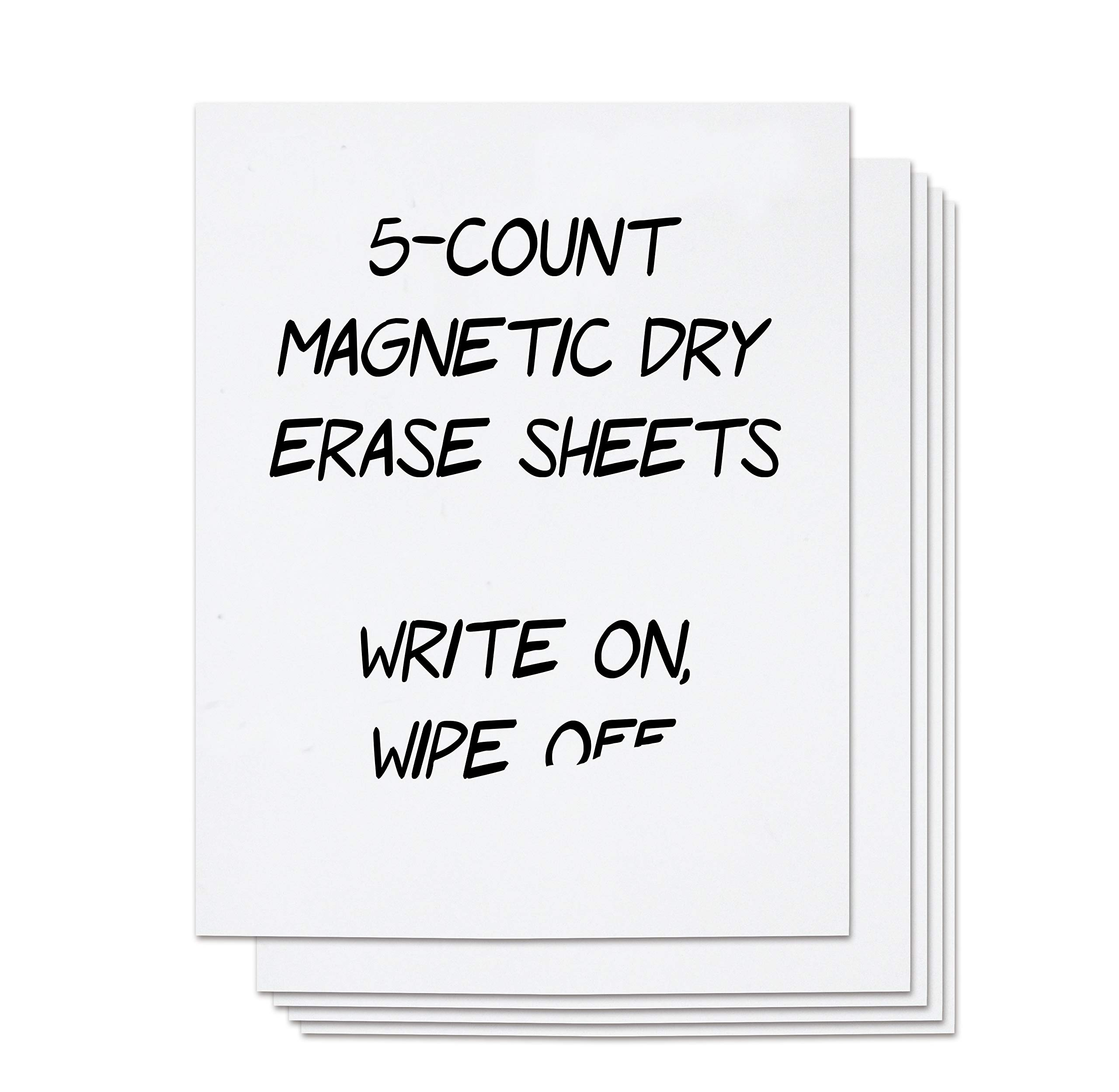 Magnetic Dry Erase Sheets - 5 Count White Magnet Sheets, 9 x 12 inches