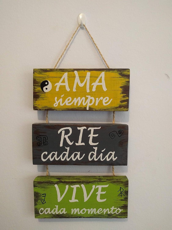 MariusCrafts Cartel de Madera Decoracion, Frases Personalizadas, Vintage o Rustico Hechos a Mano. Ama RIE Sueña Viv