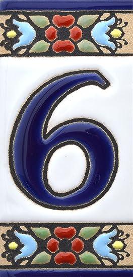 """Image ofLetreros con numeros y letras en azulejo de ceramica, pintados a mano en técnica cuerda seca para nombres y direcciones. Texto personalizable. Diseño FLORES MINI 7,3 cm x 3,5 cm. (NUMERO SEIS """"6"""")"""