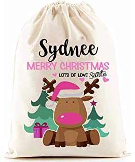 Personalised Baby First Christmas santa sack in pink cotton ... 790a9511c
