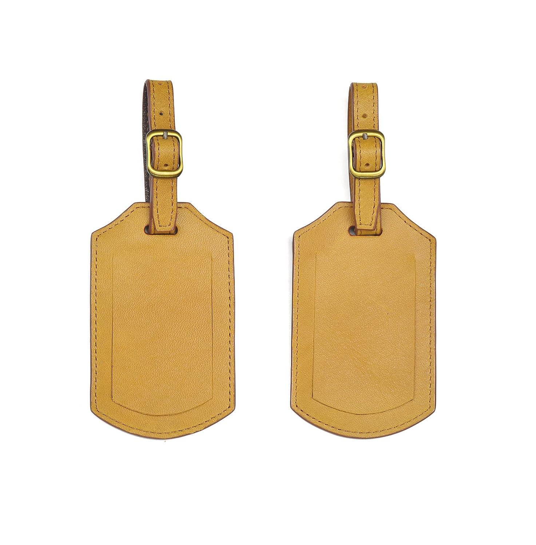 ハンドメイド本革旅行ID荷物タグ B00ZG92QLQ Mustard Set 1