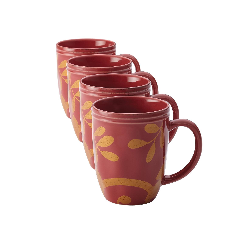 Amazon.com   Rachael Ray Dinnerware Gold Scroll 4-Piece Mug Set Cranberry Red Coffee Cups \u0026 Mugs  sc 1 st  Amazon.com & Amazon.com   Rachael Ray Dinnerware Gold Scroll 4-Piece Mug Set ...