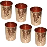 AVS STORE Pure copper hammered Glass for Healing Ayurvedic tableware accessories Set of 6