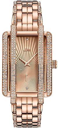 1008ae3ea JBW Luxury Women's Mink 0.12 Carat Diamond & Swarovski Crystal Wrist Watch  with Stainless Steel Bracelet. Roll over image to zoom in