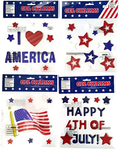 Patriotic Memorial Independence Day Window Stick-On Gel Clings – 4 Pack Over 34 Pieces Including Red, White and Blue Stars, American Flag, Words To Happy 4th of July and More.