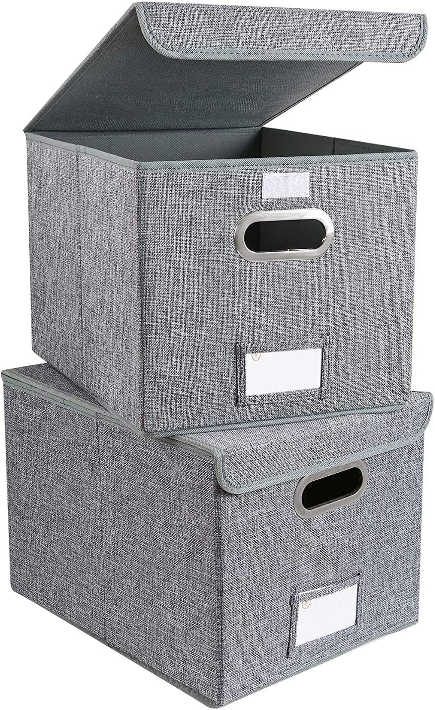 Collapsible File Box with Lid Decorative Documents Storage Organizer with Linen Filing, Home Office Bin, Letter Size Legal Size, Gray,[2-Pack]
