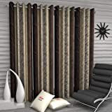 Home Sizzler Abstract 4 Piece Eyelet Polyester Door Curtain Set - 7ft, Brown (46 x 84 IN)