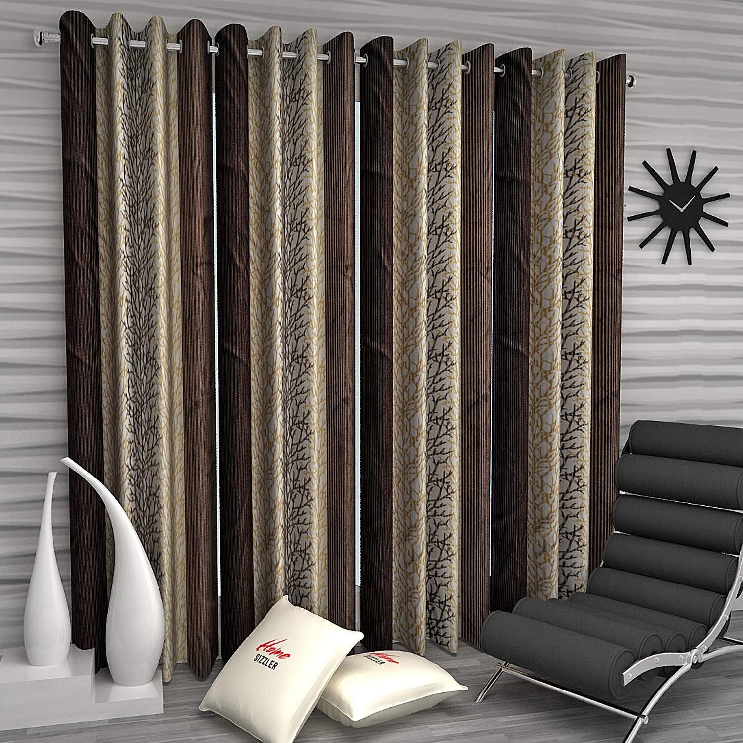 Home Sizzler 4 Piece Eyelet Polyester Door Curtain Set - 8 ft, Brown