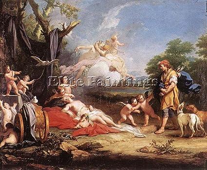 Amigoni Jacopo Venus And Adonis 1 Artiste Tableau Huile Toile Peinture A La Main 100x120cm Haute Qualite Amazon Fr Cuisine Maison