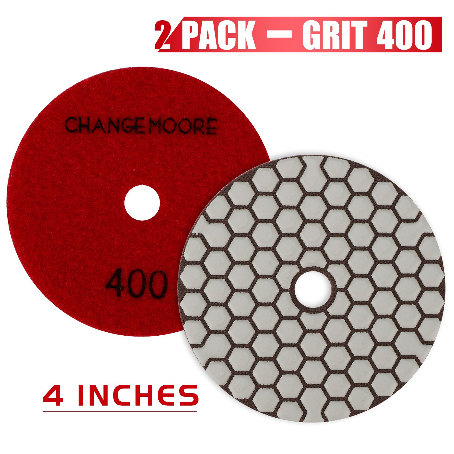 CHANGE MOORE Dry Diamond Polishing Pads 4'' for Marble Granite Travertine Terrazzo Concrete Stones, 2 pack-Grit 400
