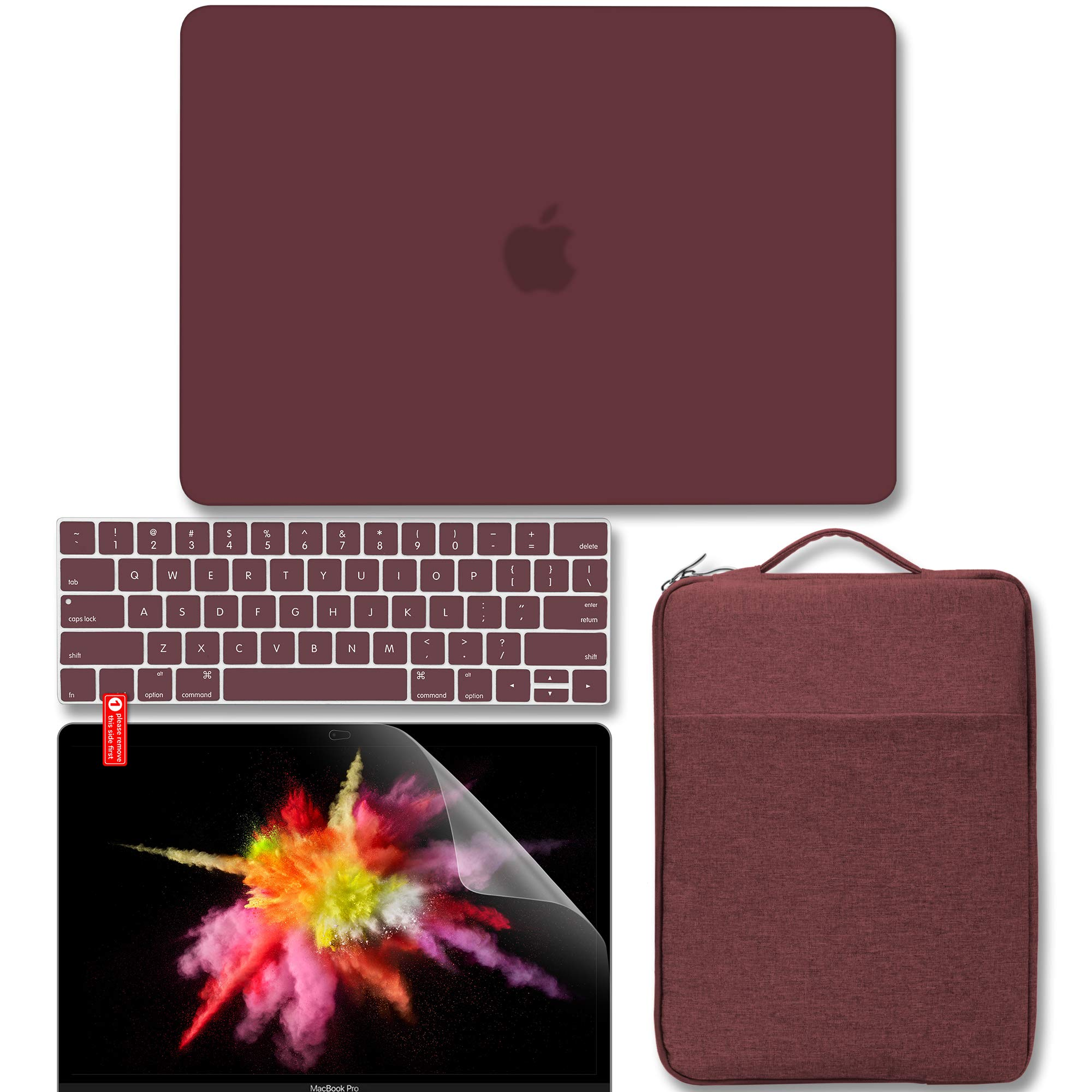 GMYLE MacBook Pro 13 inch Case 2018 2017 2016 Release A1989/A1706/A1708, Plastic Matte Hard Case, Carrying Sleeve Bag, Keyboard Cover & Screen Protector Compatible Newest Mac Pro 13 Inch, Burgundy