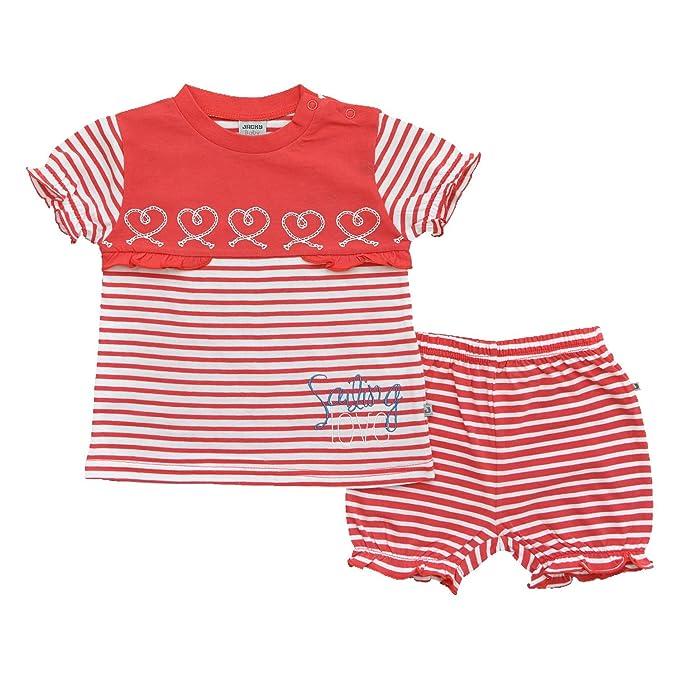 Jacky - Pijamas enteros - Rayas - para bebé niña rojo / blanco 12 meses