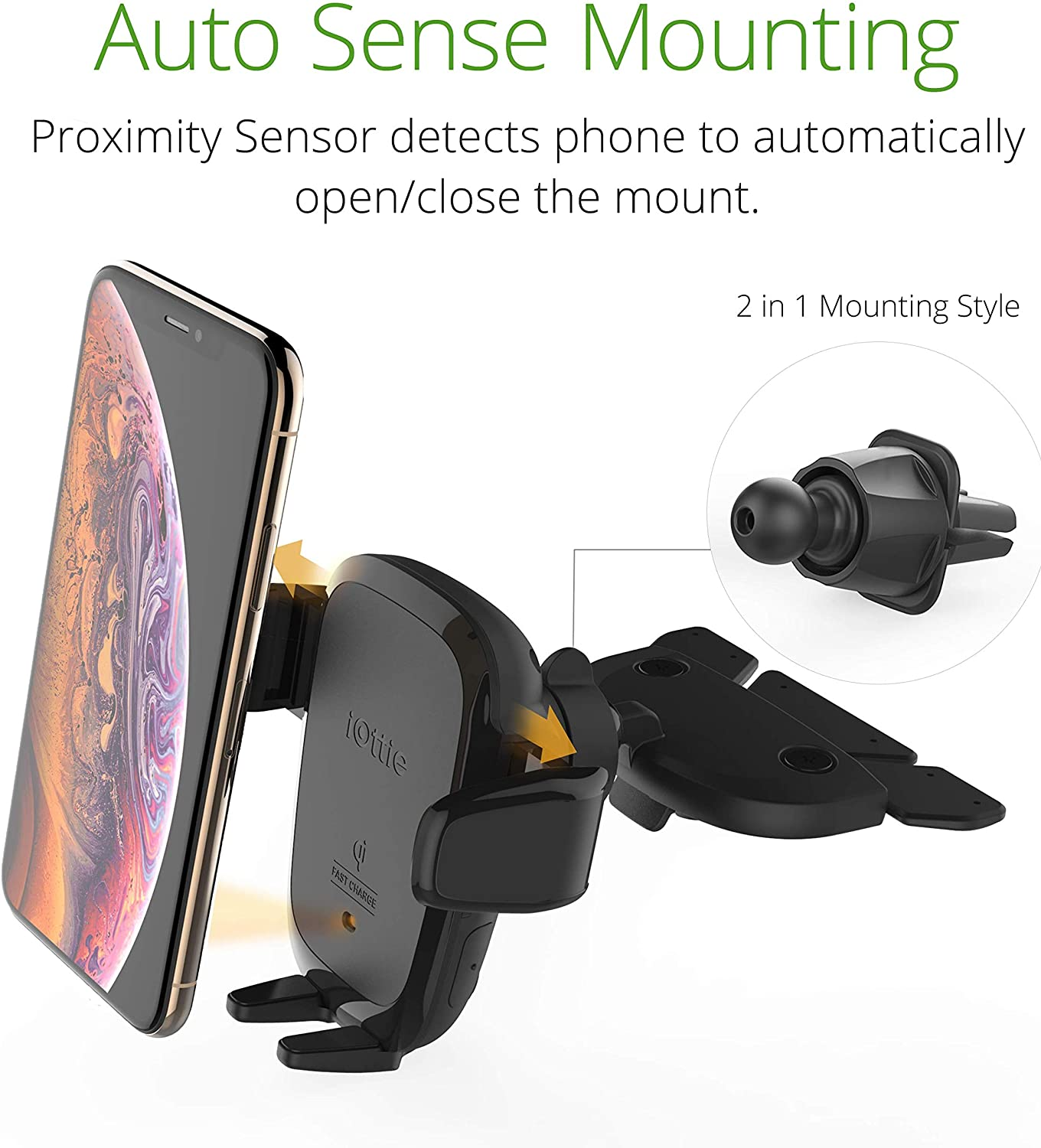 Smartphones Huawei Samsung Galaxy LG iOttie Wireless Car Charger Auto Sense Qi Charging Automatic Clamping Dashboard Phone Mount for iPhone