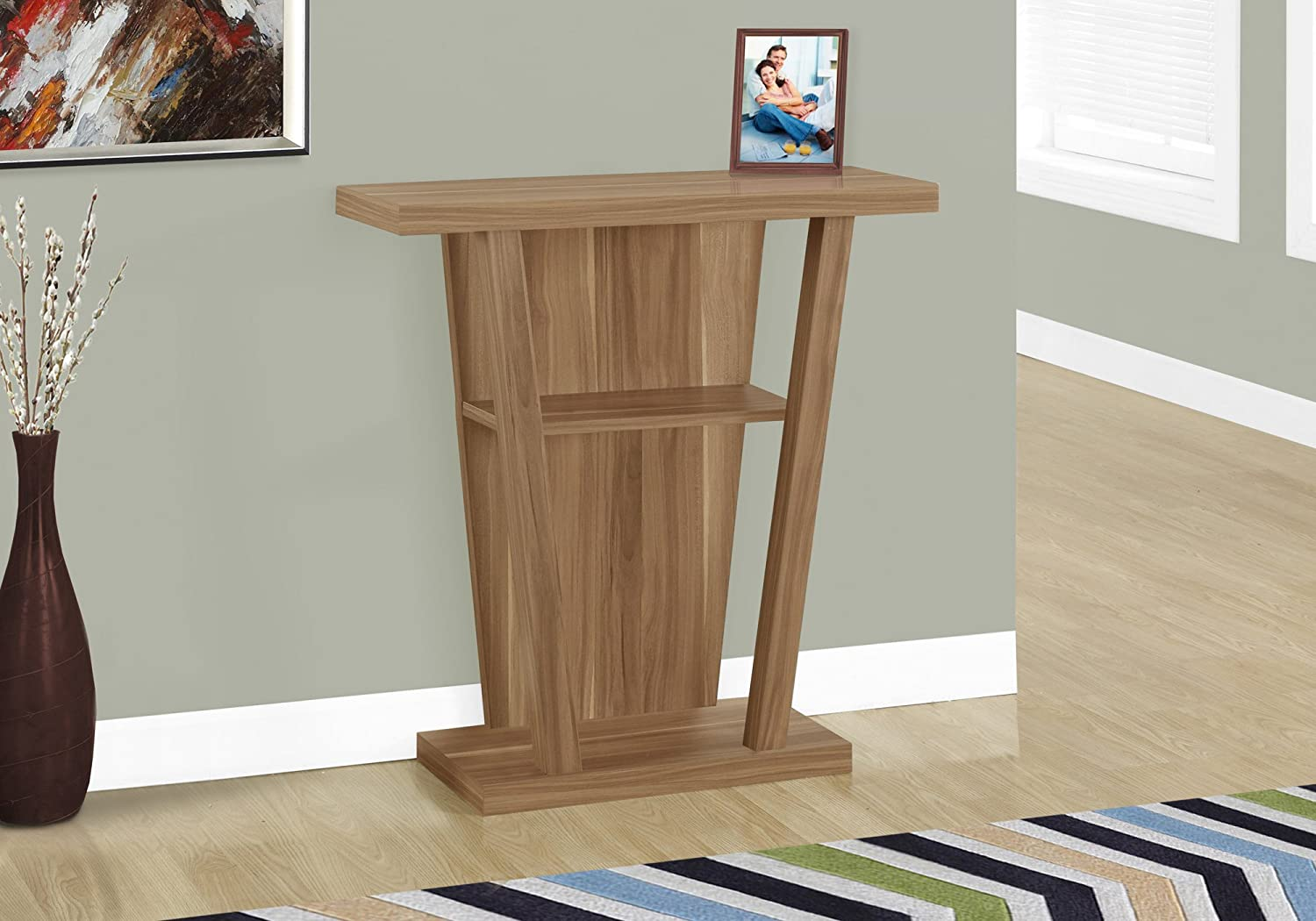 Walnut Monarch Specialties I 2453 Accent Table 32  L Hall Console, Dark Taupe