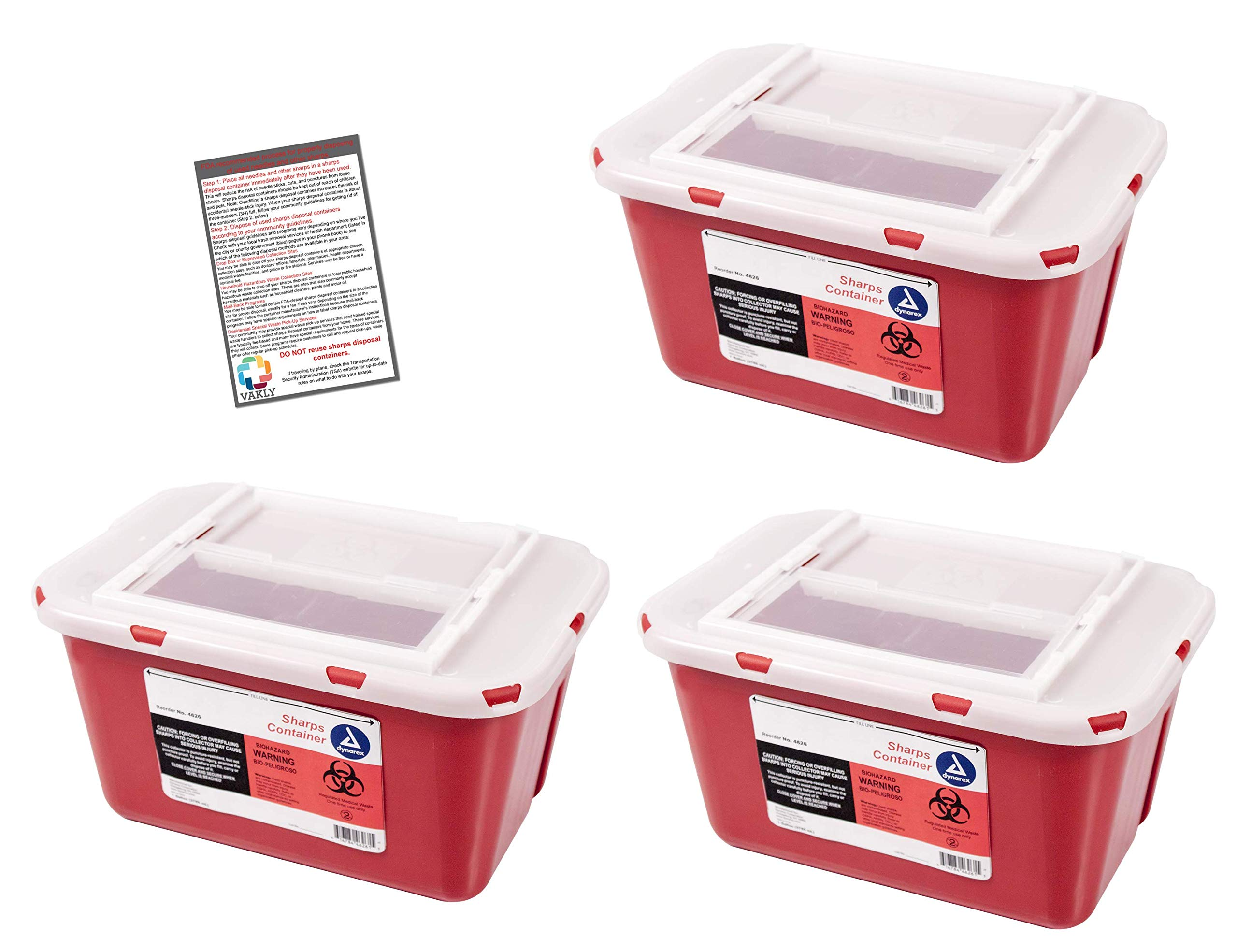 Sharps Container 1 Gallon - Plus Vakly Biohazard Disposal Guide (3 Pack) by Vakly (Image #1)