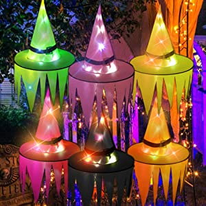 JIANXU Party Witch Hat String Lights,Colortful LED Hanging Lighted Witch Hat 36FT 8 Lighting Modes,Party Decorations Outdoor (Mix Color)
