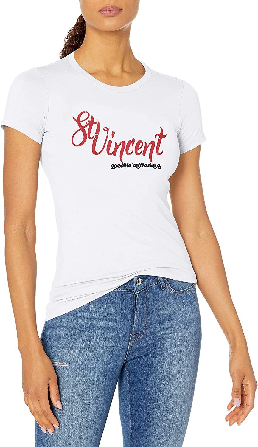 Marky G Apparel Womens Casual Short Sleeve Crewneck Tops Blouses Slim Fit T-Shirt with Vincent Printed S White