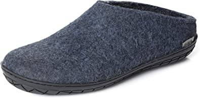 Choose Size Wool Felt Slippers with Leather Sole NEW Glerups Unisex B Grey