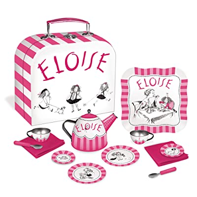 YOTTOY Eloise Collection | 12-Piece Kids Tin Tea Set Toy with Illustrations & Sturdy Carrying Case: Toys & Games