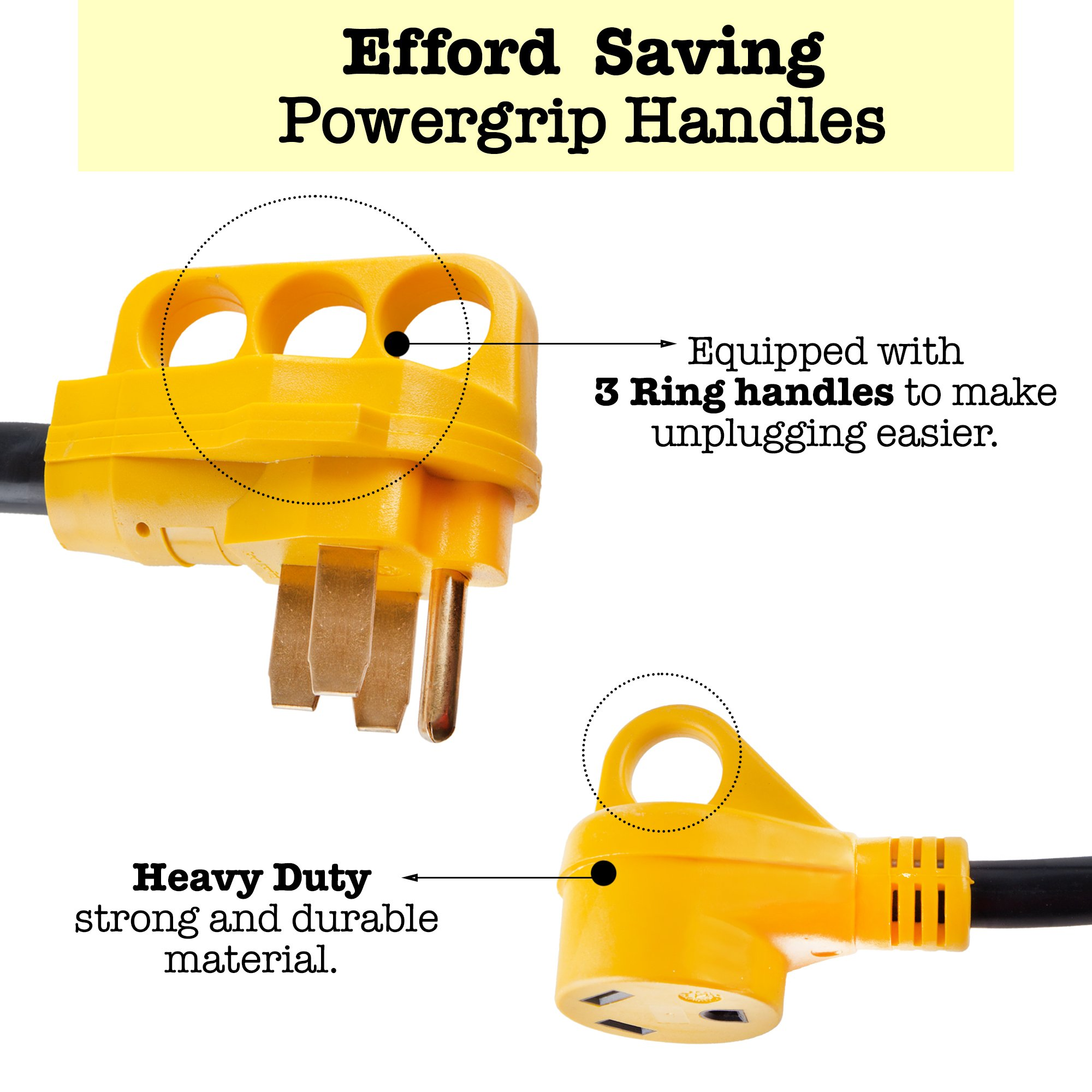 Proline Power RV Camper Y Adapter Cord with Handles - 50 Amp Male Plug to (2) 30 Amp RV Female Connectors by Proline Power (Image #2)