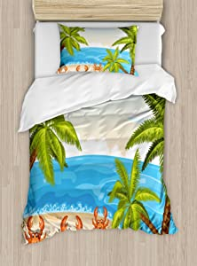 Ambesonne Crabs Duvet Cover Set, Cartoon Style Illustration of The Palm Trees and Crabs on Beach Cloudy Sky Print, Decorative 2 Piece Bedding Set with 1 Pillow Sham, Twin Size, Beige Aqua