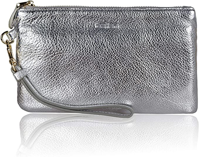 Befen Women Genuine Leather Evening Wristlet Chic Designer Clutch Wallet Smartphone Wristlet Purse - Metallic Silver best women's wristlets