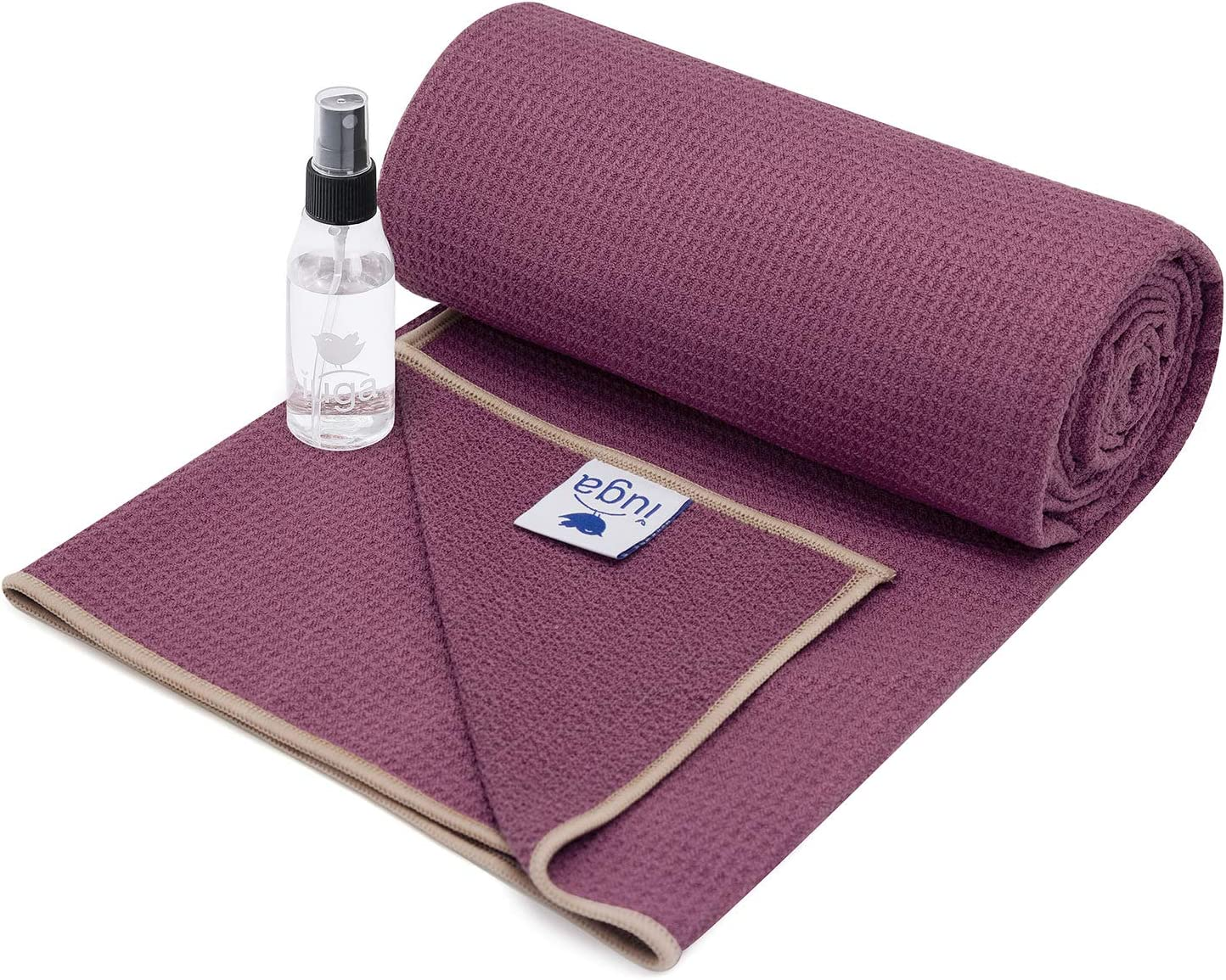 IUGA Yoga Towel for Hot Yoga, Non Slip Silicone Bottom and Stickyfiber for Ultra Grip, Super Soft, Sweat Absorbent Hot Yoga Towel for Pilates and ...