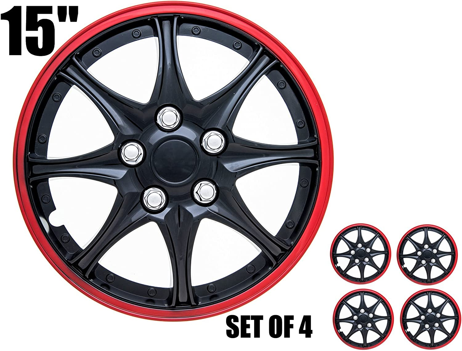 Pack of 4 SPA Hubcaps for Standard Steel Wheels Wheel Covers Fits 14 Inch Wheel, Blue /& Black Snap On